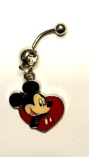 Mickey Mouse I heart You  Belly Ring Navel Ring 14G Surgical Steel