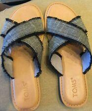 3e9375d642f Toms Womens Summer Black Viv Linen Hemp Fringe Criss Cross Sandals Flats sz  8 M