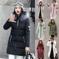 Women Winter Fur Hooded Slim Fit Parka Jacket Outwear Ladies Chunky Puffer Coat