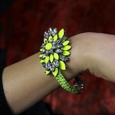 Bracelet Grosse Fleur Jaune Frappant Fait Main Tissu Original Soirée Mariage CT2