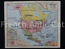 Rare carte scolaire date Amerique du Nord Politique 19 Tirage Mai 1952 Lablache