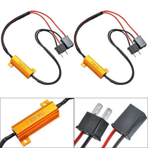 2x H7 LED DRL Fog Light Canbus 50W 6Ohm Load Resistor Wiring Canceller Decoder