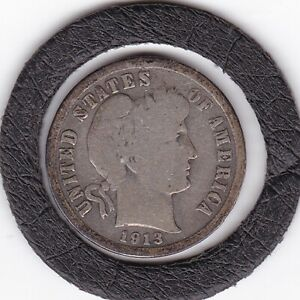 1913  Barber  Dime   (90% Silver)  Coin