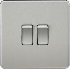 Knightsbridge SF3000BC Screwless 10 a 2-gang 2 Way Switch Brushed Chrome