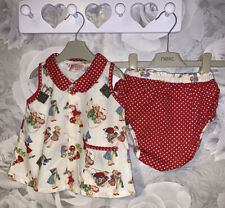 Girls Age 12-18 Months - Powell Craft Tunic Top & Frilly Knickers Set