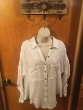 Free People Top, White, Button Down, Cut Out Back, Cute/casual, Medium (A12)