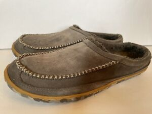 L.L. Bean Mountain Slipper Scuffs Mens 10 M  Gray Leather Outdoor Slip on Loafer
