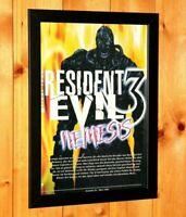 Resident Evil 3 Nemesis PS1 Dreamcast PSX GC Vintage Promo Poster Ad Art Framed