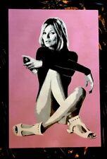 "SAGE Original ""Pin Up Girl"" Painting 1/1 on wood with COA street art urban"