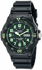 Casio MRW200H-3B 100M Black Diver Classic Sports Watch Resin Band GREEN New