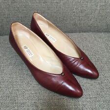 Gucci Vintage 80s Burgundy Heels Pumps Leather Maroon Dark Red Women 40 10