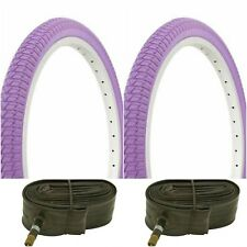 "Two PURPLE 20x1.75"" BMX BIKE BICYCLE TRAILER JOGGER  TIRES & TUBES"