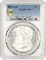 1889-CC $1 PCGS MS63 - Key Date Carson City Morgan Dollar - Morgan Silver Dollar