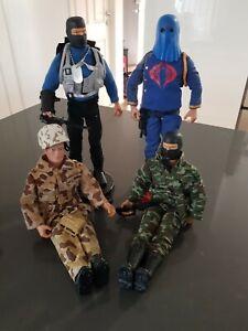 "Vintage 1992 GI Joe  12 ""figures ,Duke, Snake Eyes x 2 and Cobra Commander"