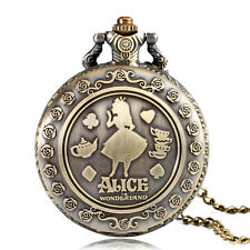 Vintage Alice In Wonderland Necklace Quartz Pocket Watch Women Cute Xmas Gift