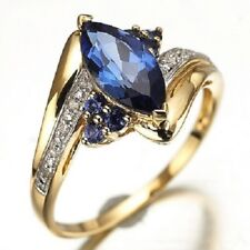 Anillo sortija circonita oval azul talla 8 usa con oro amarillo laminado 18 kt