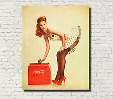 Vintage Coco-Cola Pin-up Girl Advertising Fine Art Print A4