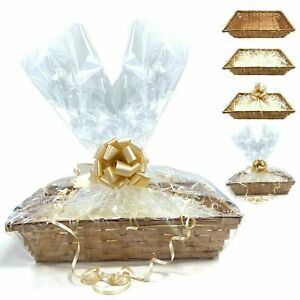 DIY Make Your Own Hamper Wicker Gift Basket Box Kit with Shred +Cellophane +Bow