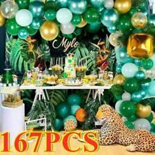 167X Jungle Party Latex Green Balloons Garland Balloon Arch Kit Baby Birthday UK