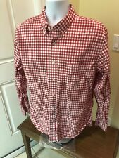 EUC J CREW MENS L Large RED WHITE GINGHAM CHECK Cotton L/S BUTTON UP SHIRT