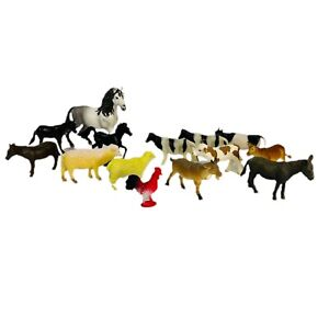 Mixed Lot Of 14 Farm Animals Sheep, Rooster, 1 Schleich Horse 1 Schleich Calf