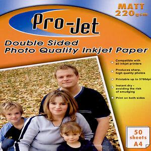200 Sheets Projet 220gsm A4 Double Sided Matte / Matt Photo Paper