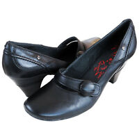 RRP £89 PIKOLINOS WOMENS COURT SHOES SLIP ON HEELS BLACK LEATHER MODELO  UK4-7.5