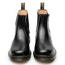 Women Casual Leather Ankle Chelsea Boots Slip on Fashion Combat Punk Shoes Black