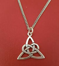 Celtic Necklace stainless steel chain Solid 925 pendant Triquetra Trinity knot