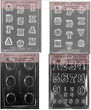 Greek Letters roman letters numbers chocolate candy mold plain cookie candy mold