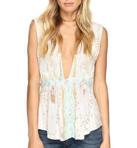 Free People Womens The Siren OB560489 Top Relaxed Ivory White Size XS