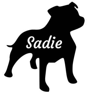 Personalised Name Staffy Staffordshire Bull Terrier Dog Sticker