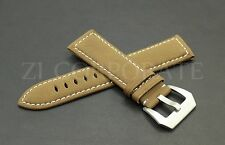 24MM Brown Leather Watch Band Strap Panerai Steel Bukcle Pam 44MM Military