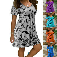 Women Summer Floral Mini Dress Short Sleeve Casual Crew Neck Sundress Plus Size