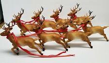 """8 Vintage Hard Plastic Brown Reindeer Santa Sleigh Running Deer Christmas 7"""""""