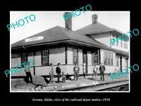 OLD POSTCARD SIZE PHOTO OF JEROME IDAHO THE RAILROAD DEPOT STATION c1910