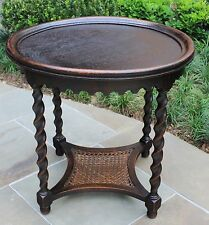 Antique French Oak ROUND Barley Twist End Lamp Side Night Table Caned 2-Tier FS
