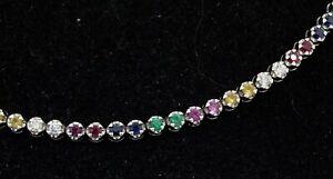 18K white gold 2.194CTW VS1/G diamond ruby emerald & Rainbow sapphire necklace