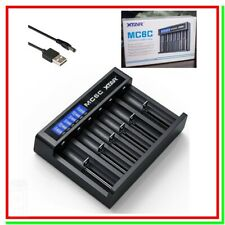 Caricabatterie per Pile Ricaricabili Litio XTAR MC6C LCD USB 6 posti