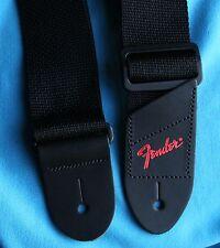 Fender Economy 2 Inch Wide Black Polyweb Strap, Red Foil Logo End, 0990606049