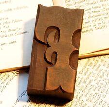 "Letter ""F"" fancy rare decorative wood type character letterpress printing block"