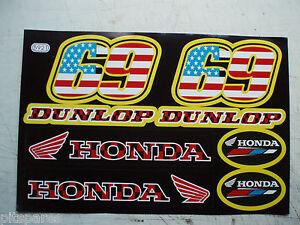 Dirt Pit Bike minimoto Fairing graphics stickers Dunlop Honda