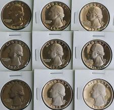 1970 thru 1979 PROOF Washington Quarter Lot 9 Coins Nine 25 Cents Coin Set