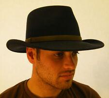 7f7a645d80e08 New Wool Felt Australian Bush Hat Black   Brown Small Medium Large XLarge
