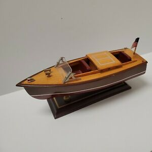 "Vintage Wooden Chris Craft Runabout Speedboat 9"" Model Boat on Stand"