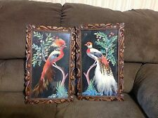 Vintage Feather Art Tropical Bird Wall Hangings Pictures Carved Tiki Frames