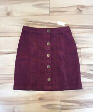 Anthropologie Gallery Skirt by Pilcro Wine Size 8 Button Front A-Line NEW NWT