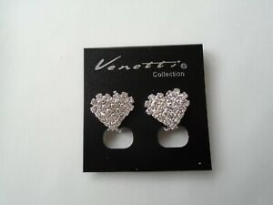 Clip On Heart Shape Crystal Stones Stud Earrings Silver Coloured New