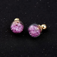 Unique Purple Gems Gold Ball Front Back Tribal Closure Earrings - SHIPS FAST!