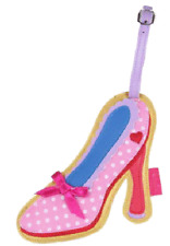 Pink Polka-dot Stiletto Shoe Romantic Heart ❤️  Luggage Tag ID Travel Chic! Fun!